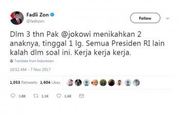 Komentar Super Nyinyir Fadli Zon ke Jokowi, Warganet: Keterlaluan
